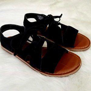Tom's Black Leather Lace Up Sandals Sz7
